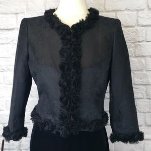 Albert Nipon Black Silk Floral Trim Jacket sz 4
